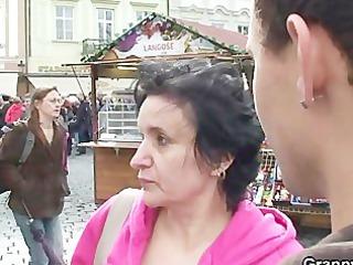 elderly tourist jumps on cock