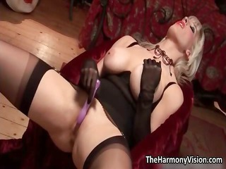 horny blond woman with large tits playing part1