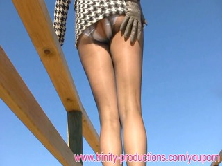 elegant woman clothed nylons upskirt pissing