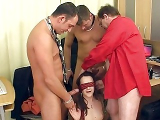 cougar brunette with the glasses having a bunch