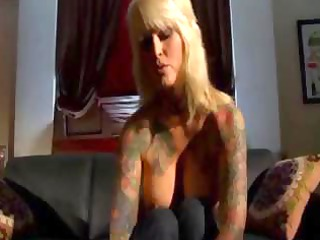 naughty tattooed grownup blonde eats dick and