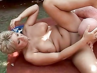 busty grandma pleasing difficult fuck outside