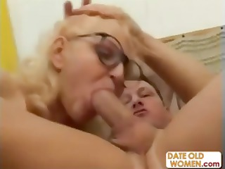blonde grandmother mouths a more juvenile  penis
