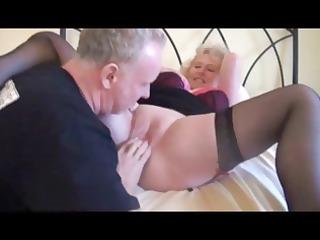 blonde grandma in brown pantyhose obtains some