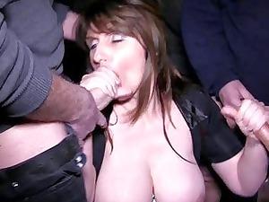 busty brunette milf obtains in a bukkake session
