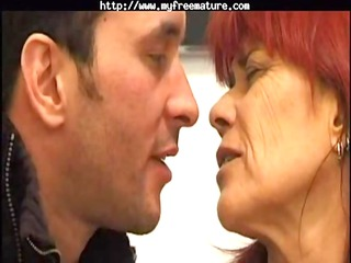 redhead into pantyhose fucks mature grown-up sex