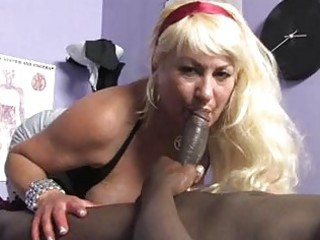 sporty albino momma with big boobs licks ebony
