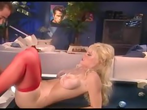 large boobed bleached lady drilling inside red