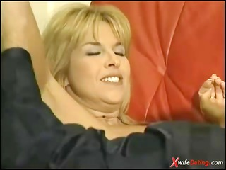 cougar housewife gangbanged on yellow couch