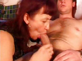 grownup ginger with brown pantyhose licks penis