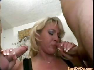 lewd albino milf pleasing two penises