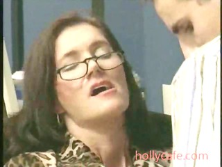 older  pierced inside office brunette cougar