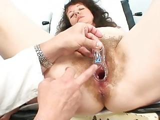 elderly older  slut obtains her hairy examined at