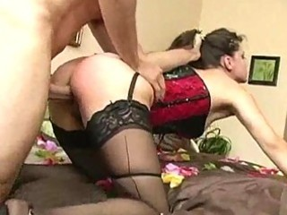 woman in corset and pantyhose obtains ridden tough