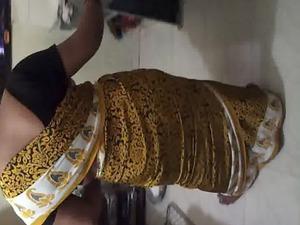drill my wife jyoti into satin saree