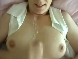 naughty wife private sperm on tits