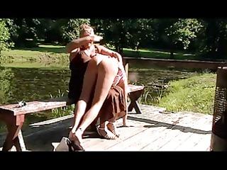 mommy spanks sissy at the lake