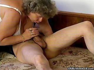 desperate grandma loves licking some