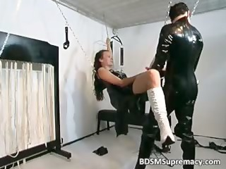 busty brunette mature babe in rubber massage part4