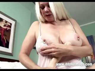 bleached naughty grandma in playing solo