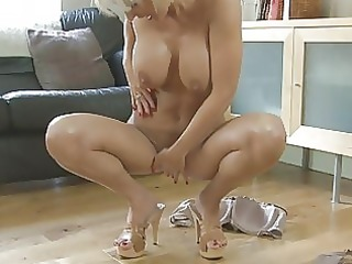 sensual albino momma with giant breast into shoes