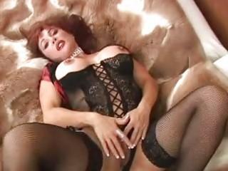 awesome classy lady dildoing into ebony underwear