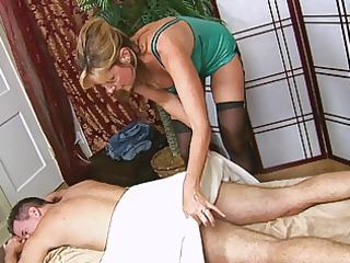 man acquires a handjob from hot women