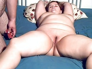plump fresh lady toyed and blowjob with facial