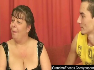 chubby mature is double gang-banged and cumfaced