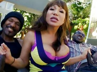 huge titty woman is on double dong duty