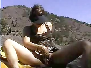 fresh maiden fingering herself on al fresco beach