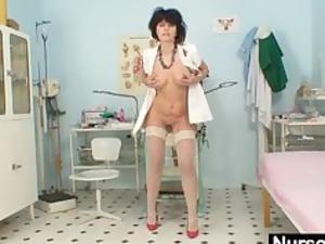busty fresh lady wears latex uniform and high