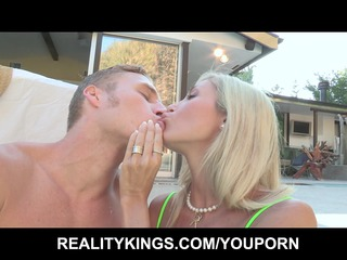 big-tit bleached lady shares her poolboys