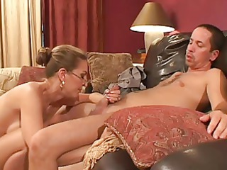 older woman with glasses bottom banged by