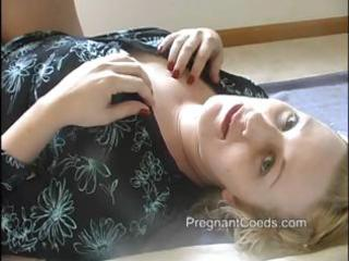 chubby blonde woman has lactating boobs and is