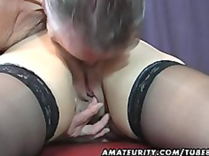 old amateur pair home act with white cream on