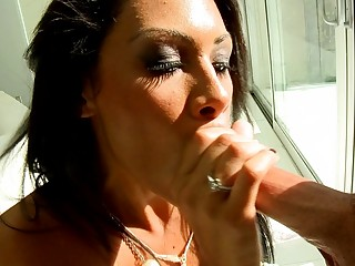 classy brunette lady gives fantastic cock sucking