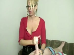 blonde mature babe tugging cock during massage