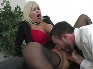 shocking bleached woman with giant bossom