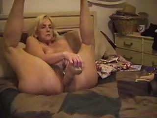 grownup blondie sticks a monstrous fuck vibrator