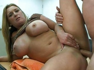 heavy bleached milf with giant tits gets fucked