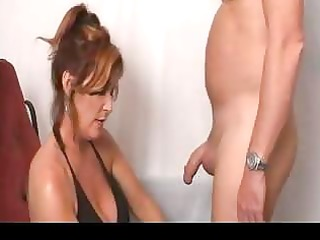 naughty lady facialized after cock sucking