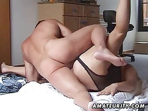chubby and busty fresh lady bangs with handjob