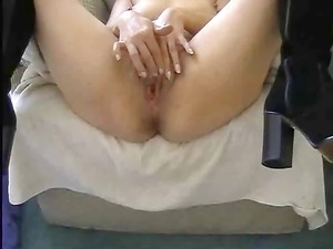 point of view of chick using a weird dildo to