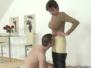 equestrian allows slave to touch her body